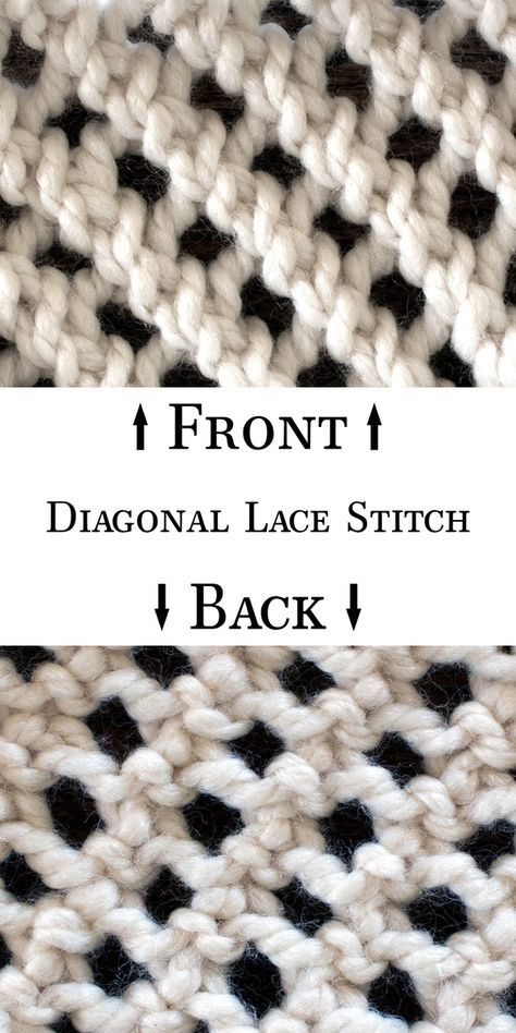 How to Knit the Diagonal Lace Stitch | Knit, Purl & Yarn Over ...