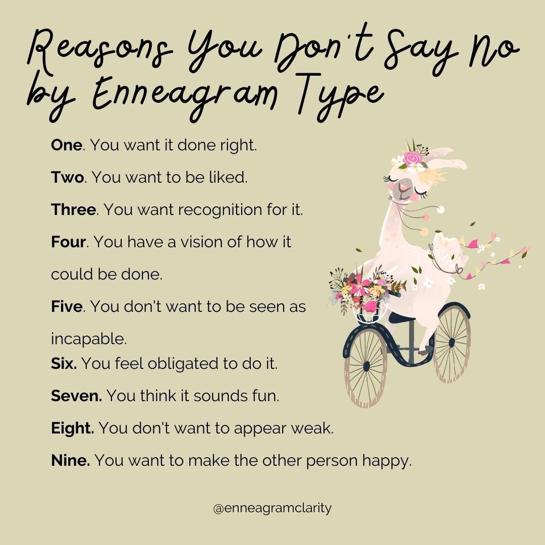 """✨Enneagram Coach✨ on Instagram: """"Do you struggle with saying no? Each Enneagram type has a different reason why saying no can be hard.   If you're struggling with saying…"""""""