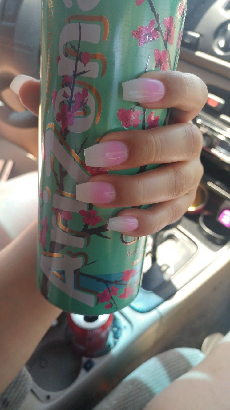 Pink and white ombre nails | nails | White Nails, Pink ombre