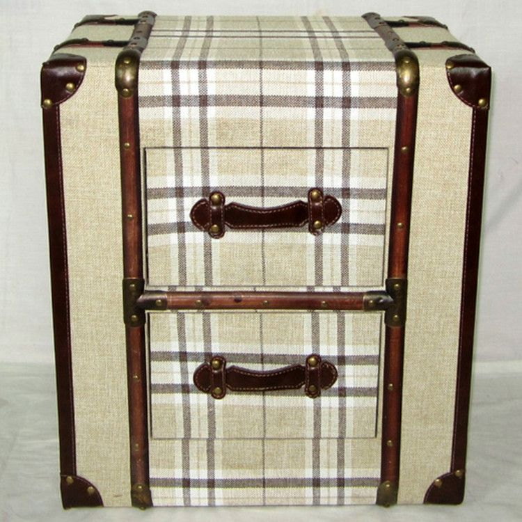 Canvas Cream Check 2 Drawer Trunk Chest or Bedside Table – Allissias Attic  & Vintage French - Canvas Cream Check 2 Drawer Trunk Chest Or Bedside Table
