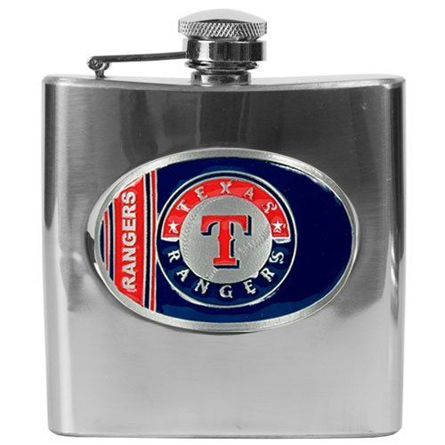 Texas Rangers MLB 6oz Stainless Steel Flask by Great American Products. $58.99. This Officially Licensed flask is decorated in the team colors and proudly displays hand-crafted metal emblem featuring the Team Logo.