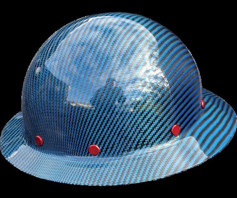 Smooth Crown Blue Carbon Fiber Hard Hat Full Brim Hard Hats Blue Carbon Carbon Fiber