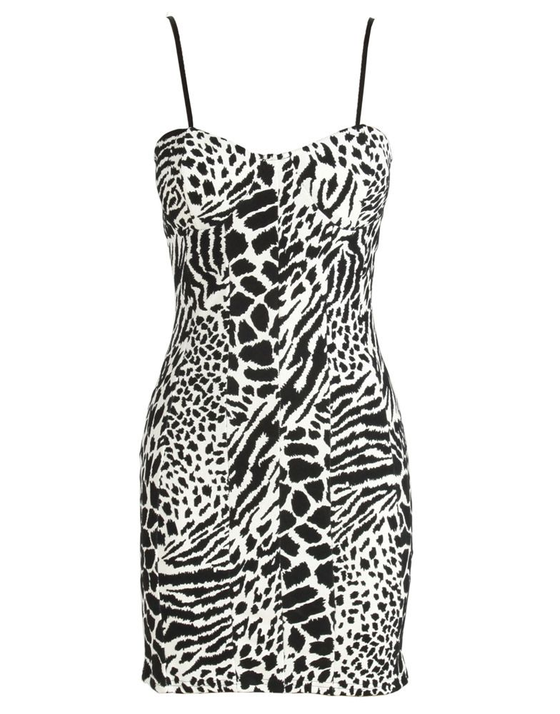 Black and White Velvet Zebra Print Strappy Bodycon Dress  ChiaraFashion dfe74154b