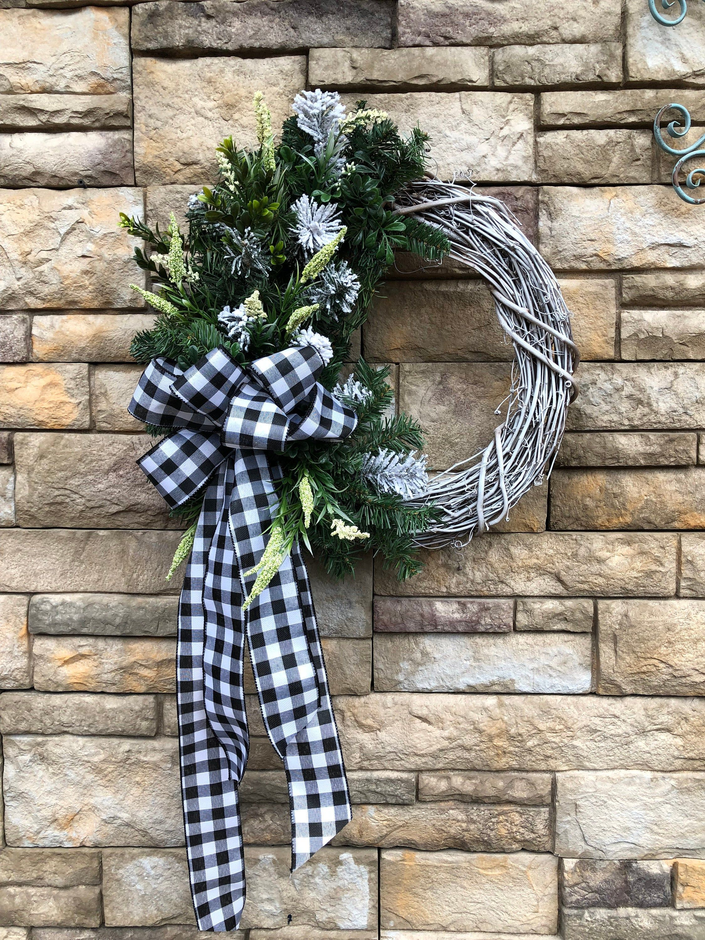 Photo of Extra Large Black White Check Winter Farmhouse Wreath-Winter White Farmhouse Wreath-Winter Wreath-Large Farmhouse Front Door Winter Wreath