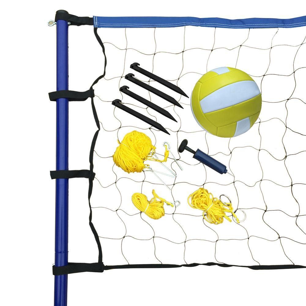 Hathaway Portable Volleyball Net Posts Ball And Pump Set Bg3137 The Home Depot Portable Volleyball Net Volleyball Net Volleyball Set