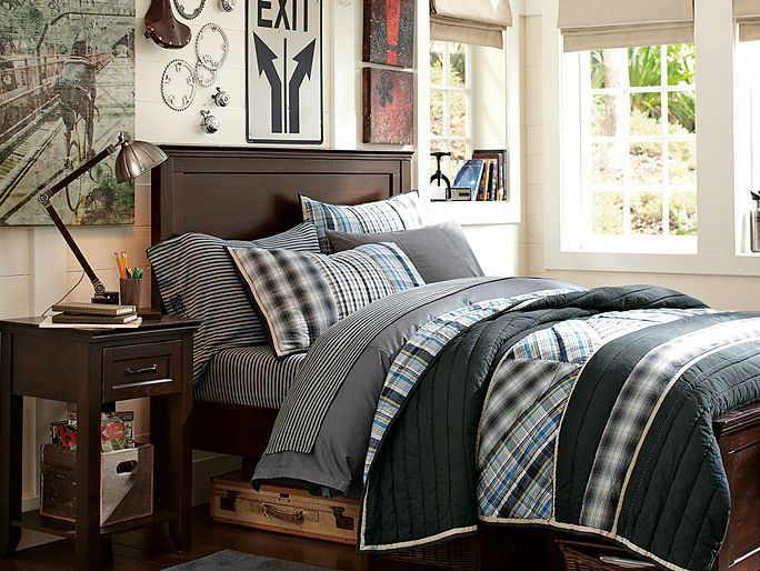 Stripe and plaid bedding   Boys room   Industrial lighting   vintage car  theme. Stripe and plaid bedding   Boys room   Industrial lighting