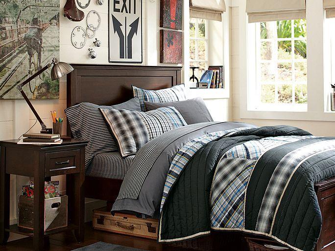 stripe and plaid bedding boys room industrial lighting vintage car theme teen boy. Black Bedroom Furniture Sets. Home Design Ideas