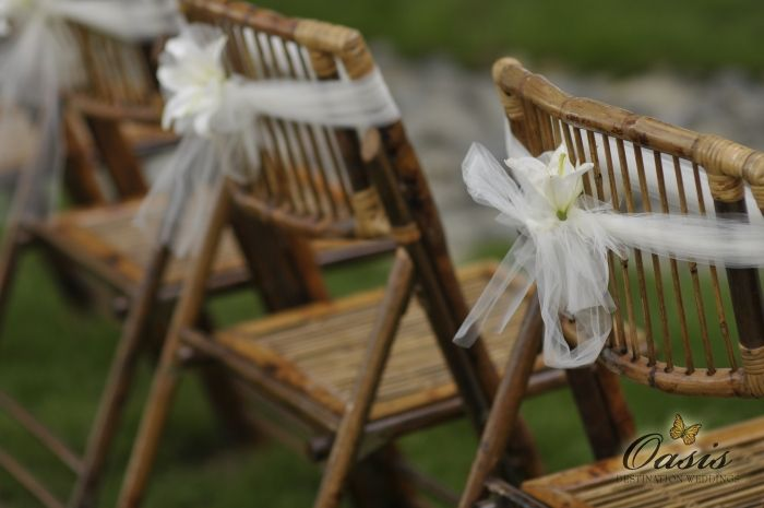 Use White Tule On Silver Bamboo Chairs