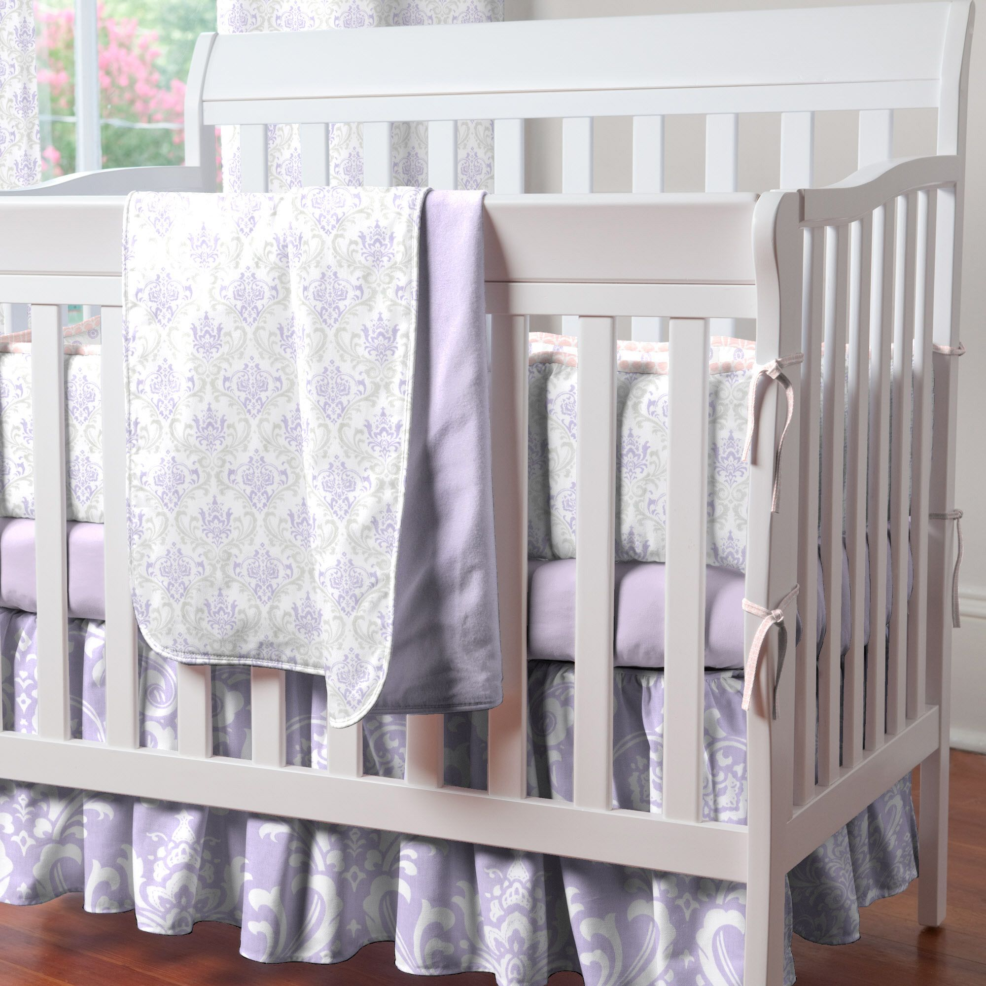 Baby bedding lamb theme sweet pea lamb baby bedding and nursery - Lilac And Silver Gray Damask Mini Crib Bedding