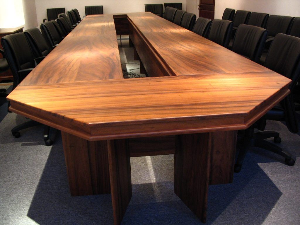Furniture Modern Varnished Mahogany Conference Table With Numerous Black  Fabric Swivel Chairs Cool Conference Table