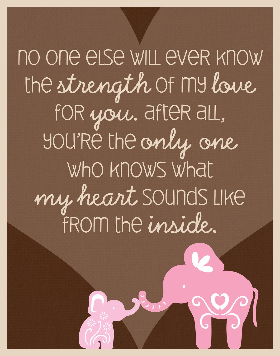 """Elephant Quote Poster for Baby's Nursery, 11"""" x 14"""" print. $15.00, via Etsy."""