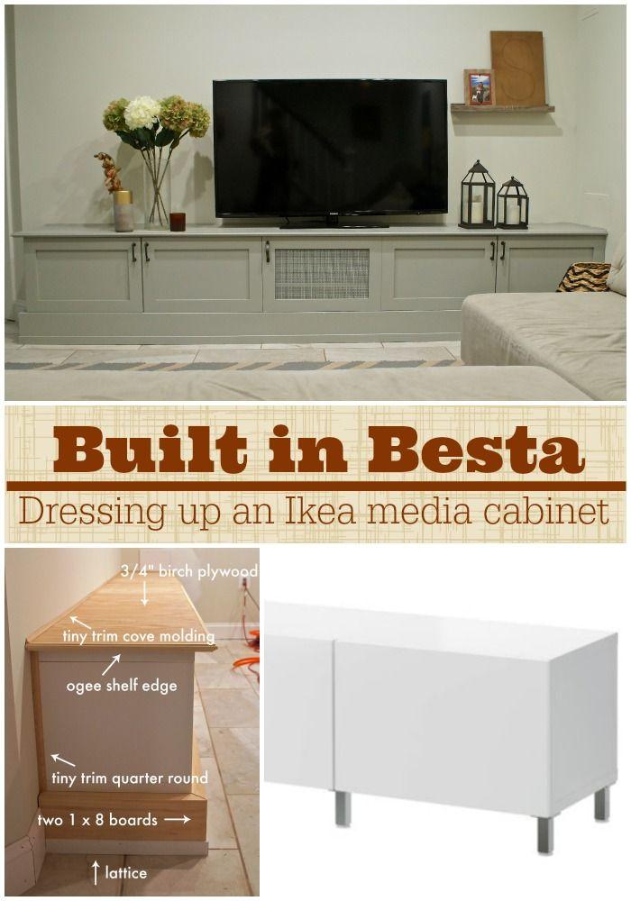 Ikea Hacking A Besta Media Center Into A Custom DIY Built Ins Using  Semihandmade Cabinet Doors