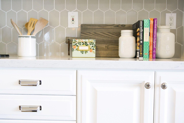 Clean and Bright Kitchen Remodel Gray kitchen backsplash