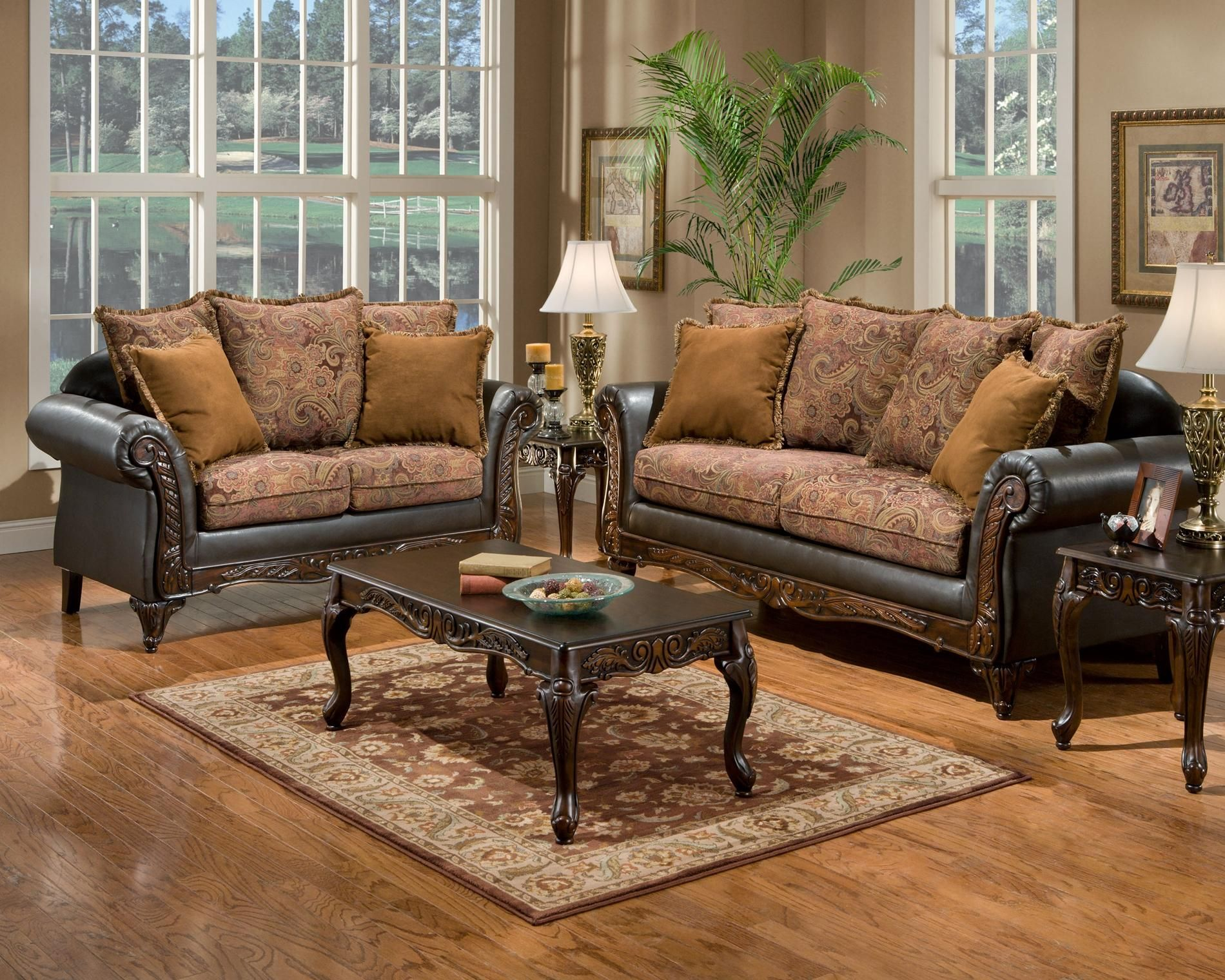 Floral Pattern Fabric Traditional Sofa Loveseat Set In A More