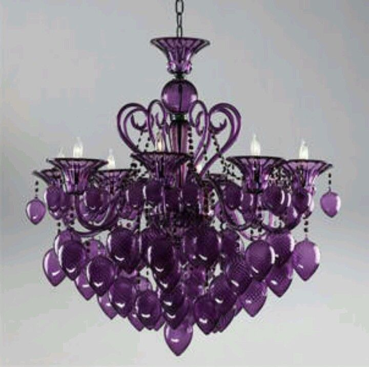 Purple Murano Glass Chandelier Cyan Design