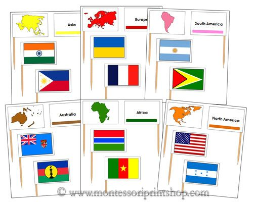 Color coded pin map flags printable montessori geography materials color coded pin map flags printable montessori geography materials for home or school gumiabroncs Images