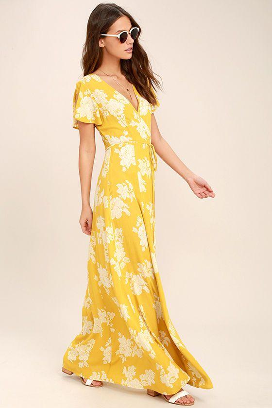 ad4da6b1eab70 Heart of Marigold Yellow Floral Print Wrap Maxi Dress | Dresses ...