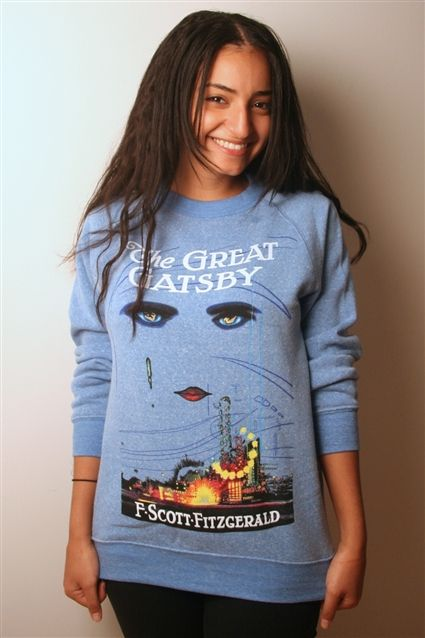 The Great Gatsby  Grab a fleece and stay warm on the road to West Egg. From the iconic first edition jacket of Fitzgerald's classic novel.  - Super soft blended unisex fleece - Distressed, softened print - Unisex sizing - Women: same size for comfort  - Men: up one size for comfort - Color: blue  http://shop.outofprintclothing.com/The_Great_Gatsby_book_cover_fleece_p/u-1004.htm