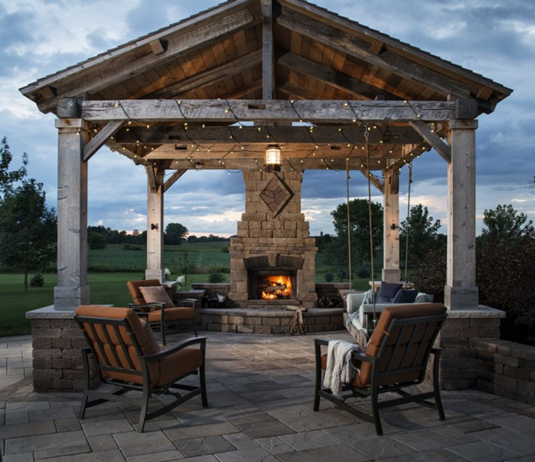 Outstanding 50 Marvelous Rustic Outdoor Fireplace Designs For Your Barbecue Party Https Rustic Outdoor Fireplaces Outdoor Fireplace Designs Backyard Gazebo