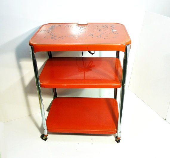 Cosco Chippy Red Metal Kitchen Cart Movable Painted Vintage: Tomato Red Cosco Painted Metal Kitchen Cart Movable