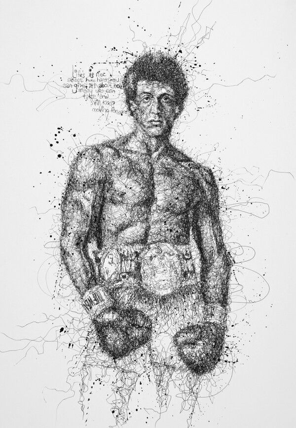 Rocky Balboa By Vince Low Scribble Art Scribble Drawing