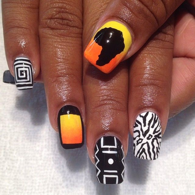 Geometric And Africa Nail Art - Hey, Nice Nails!
