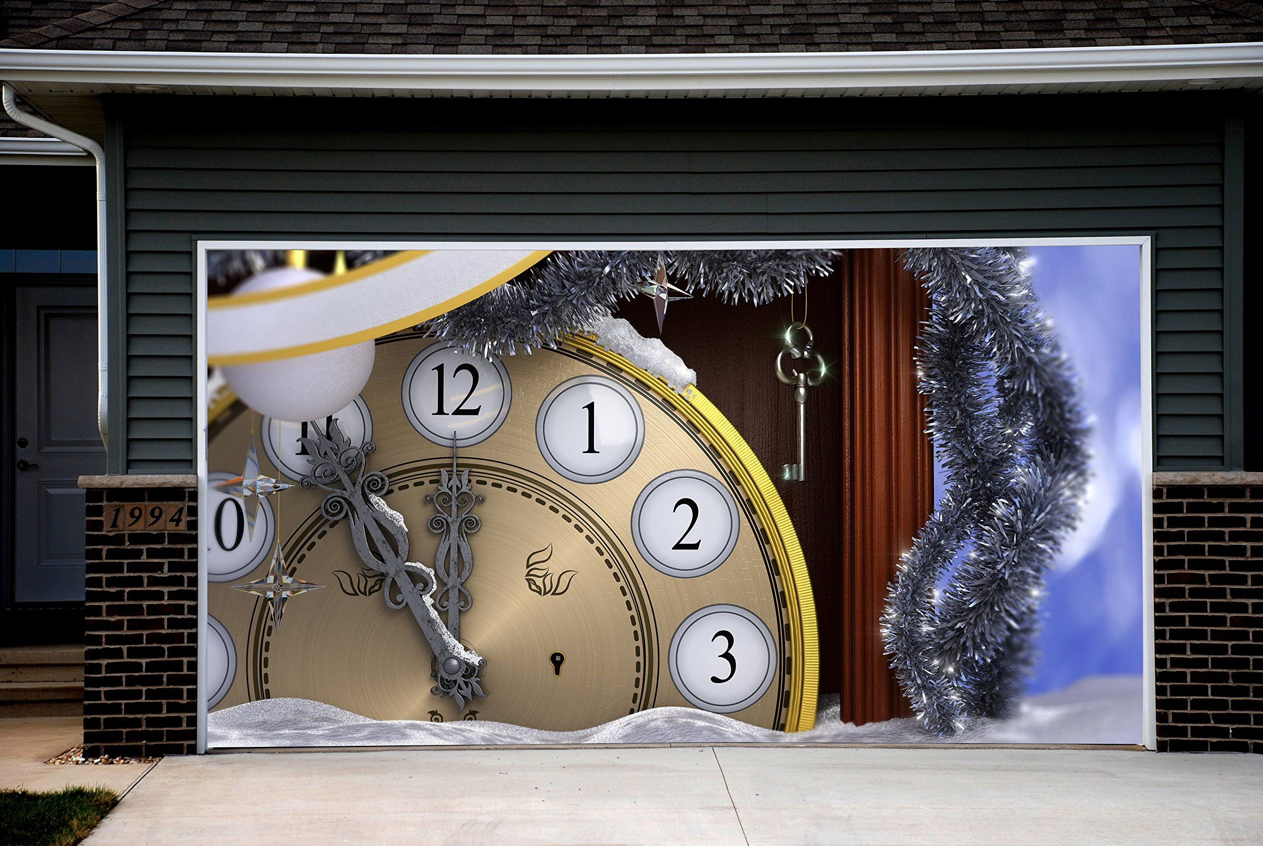 Christmas garage door covers 3d banners christmas clock for Christmas garage door mural