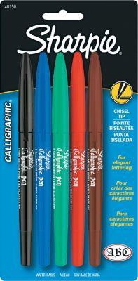Shop Staples® for Sharpie ® Calligraphic ® Marker Pen Set, Felt Chisel Edge Tip, Assorted, 5/Pack