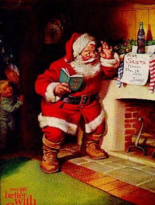 1963 coca cola santa i have a popcorn tin w this on it. Black Bedroom Furniture Sets. Home Design Ideas