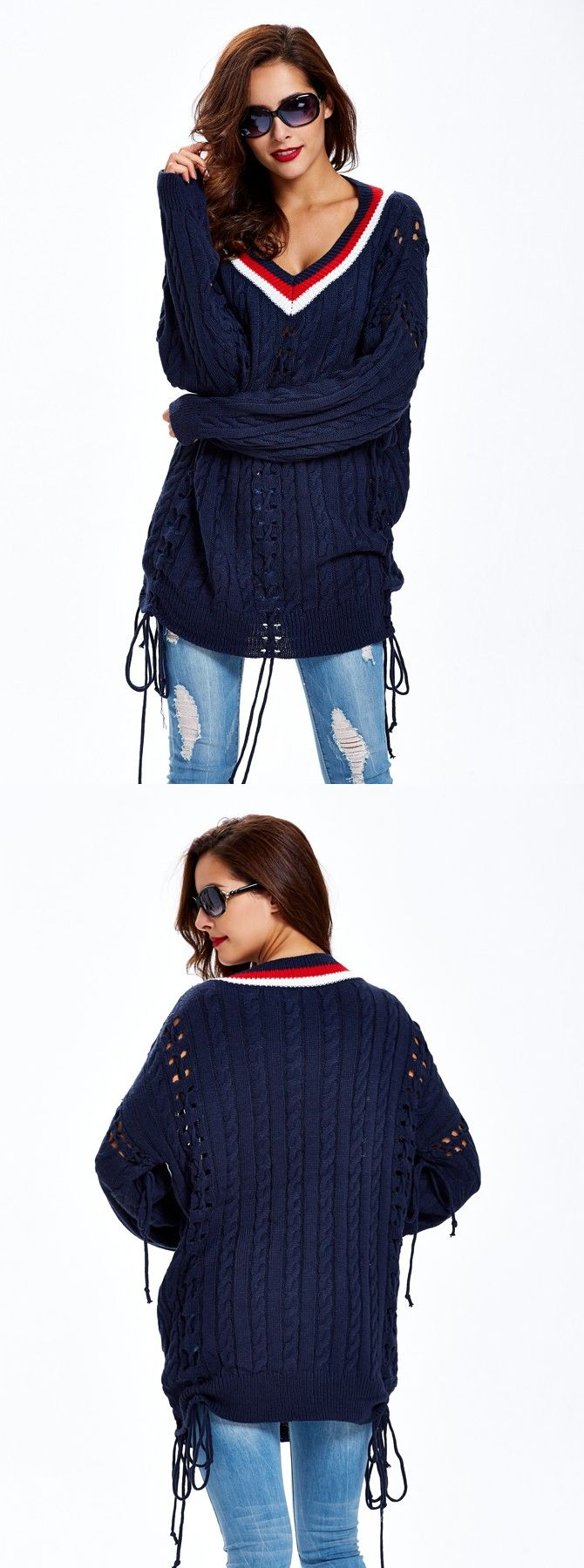 Navy blue midlength loose knitting womenus sweater navy sweaters