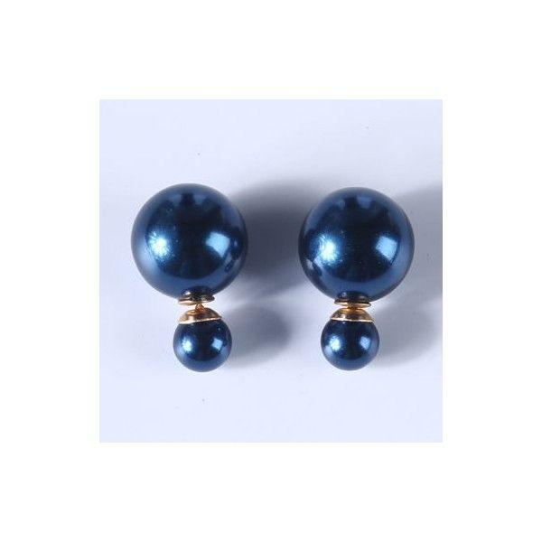 Women's Navy Blue Pearl Stud Earring uISeaZ2