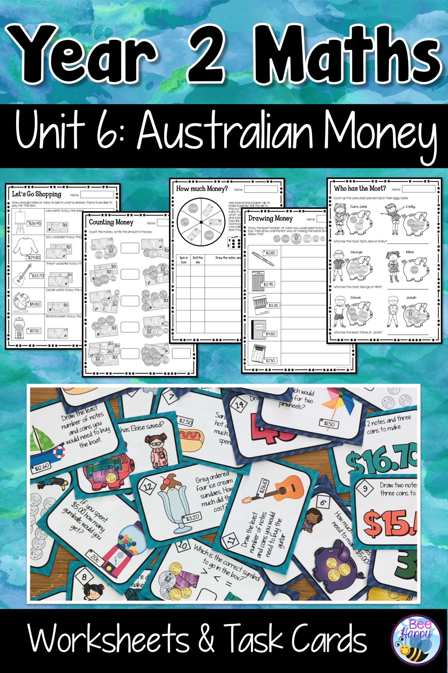 Australian Curriculum Money Worksheets and Task Cards Year 2 | Money ...