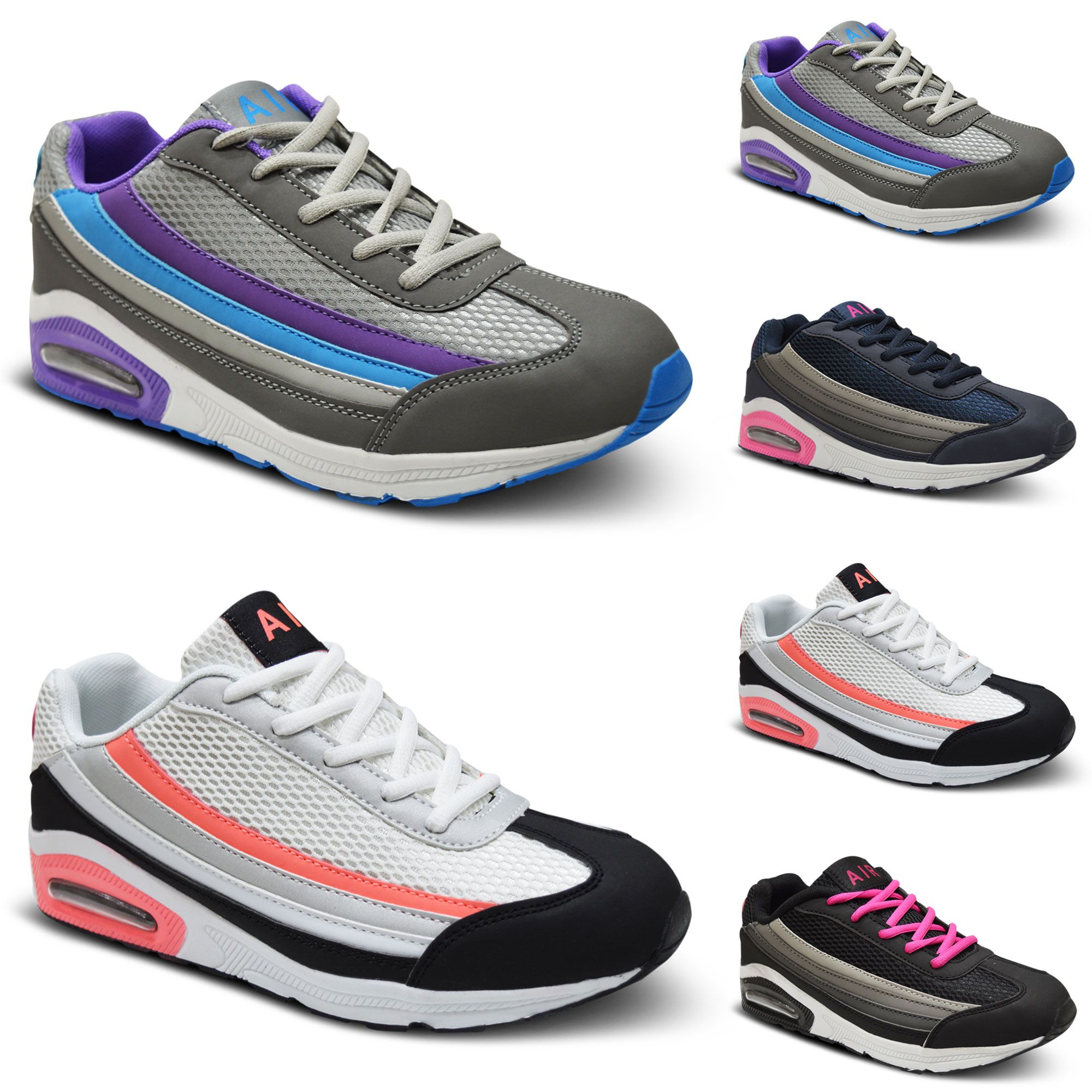 Womens Ladies Lace Up Trainers Sports Walking Gym Shock Absorbing Shoes Size 3-8