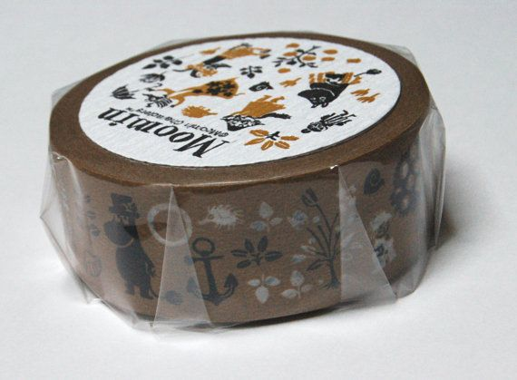 Moomin brown washi masking tape 20mm x 15M by danika58 on Etsy