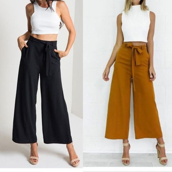 Photo of NEW Fashion Women Baggy Loose Pants High Waist Wide Leg Long Trousers with Belt | Wish