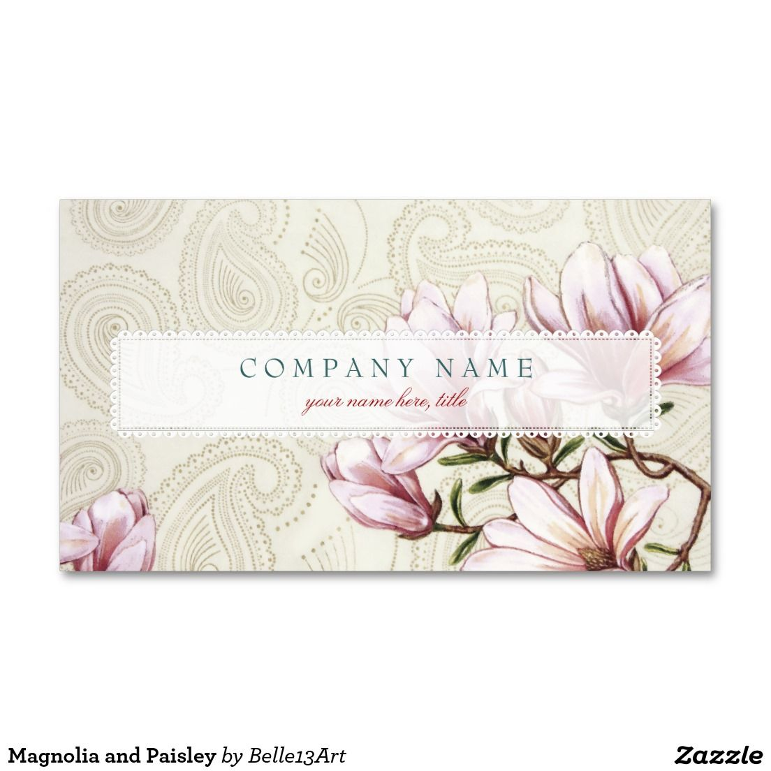 Magnolia and paisley business card business cards magnolia and magnolia and paisley business card magicingreecefo Images
