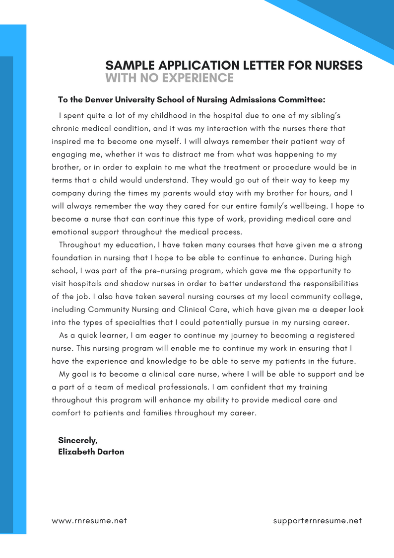 Sample Application Letter For Nurses With No Experience That Will Show You How To Write Yours Properly Ch Application Letters How To Memorize Things Lettering