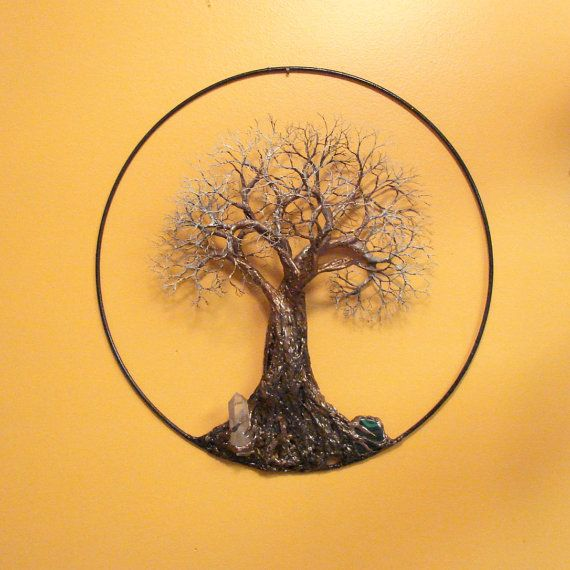 Tree Of Life Sculpture Wall Decor, Ancient Tree, Quartz Crystal, Metal Tree  Wall Hanging Art, Handmade Nature Inspired Home Decor Gift Idea