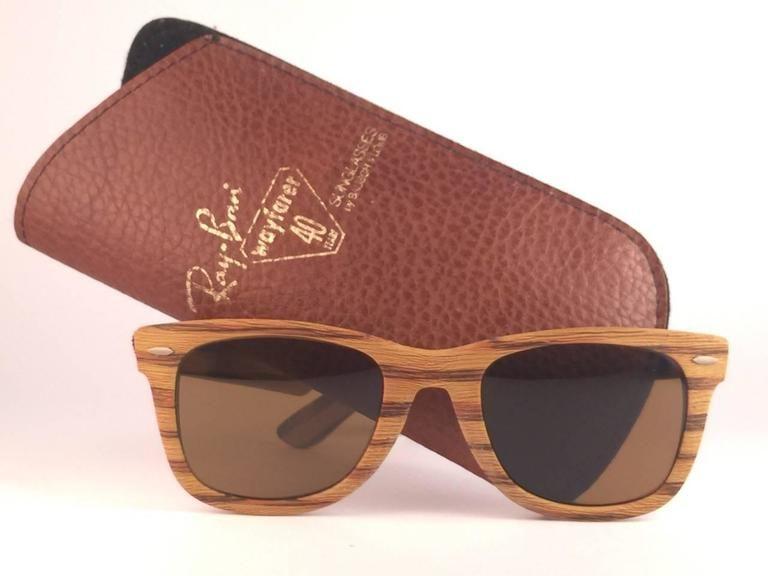 7ab4d5d75ca Ray Ban The Wayfarer Woodies Teak Edition Collectors USA 80 s Sunglasses
