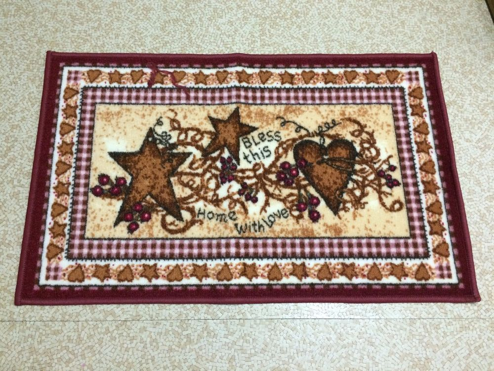 Bless This Home With Love Rug Delightful Country Design Has Burgundy Hearts And Stars Plus Vines Berries Non Slip Rubber Back