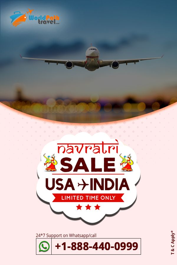 Are you Looking out for #cheapflightdeals from #USAtoIndia on this Navratri !!! We are at #worldpathtravel to help you out in availing #cheapairfares from USA and offer you the chance to celebrate this navratri with your family and friends.  Call: +1-888-440-0999   #bestdealstoindia #cheapflightdealstoindia #bestflightdealstoindia