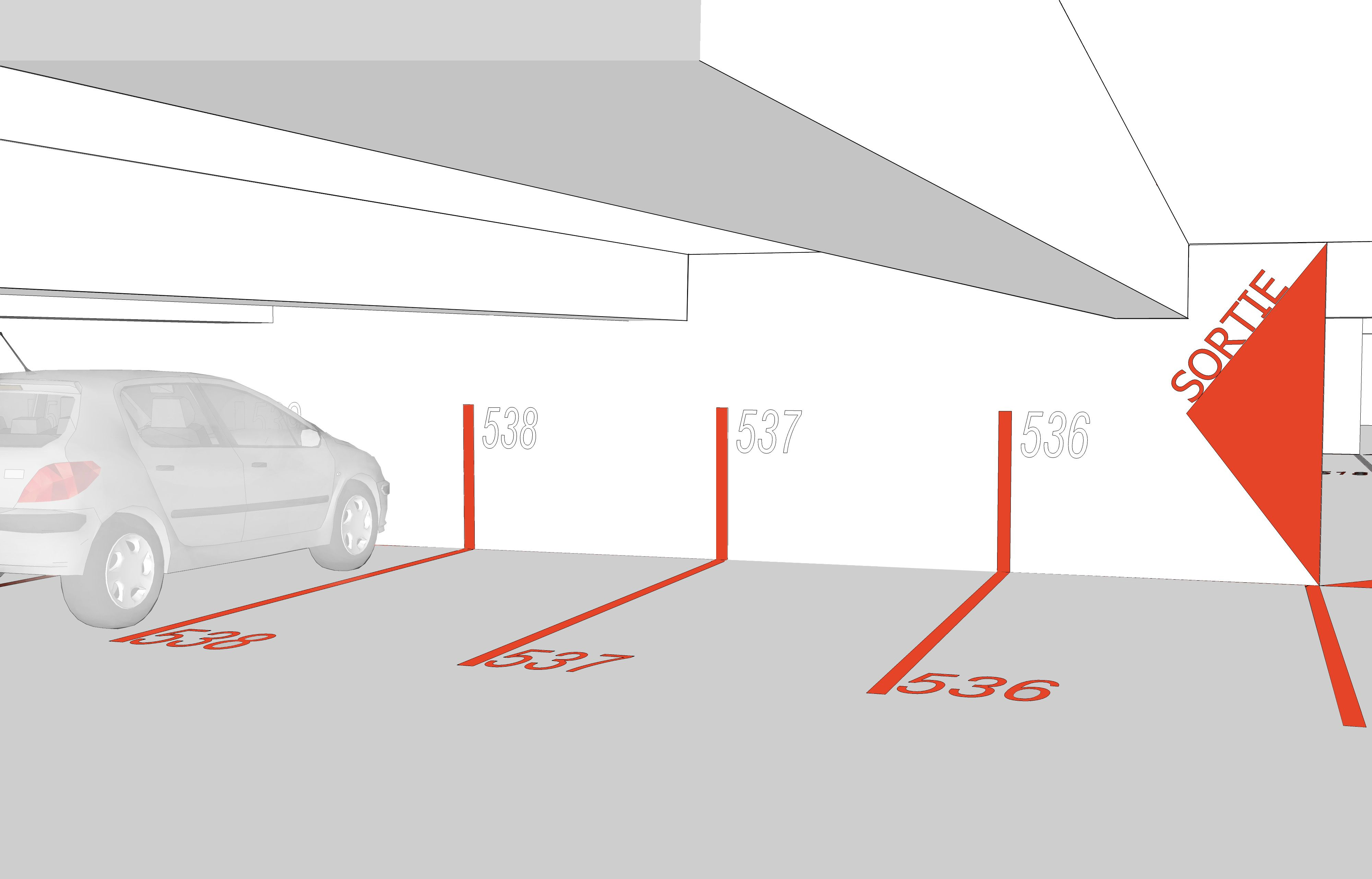 Graphics Calling Out Parking Garage And Bike Room With Arrow Pointing To Street Level Mit Bildern Tiefgarage