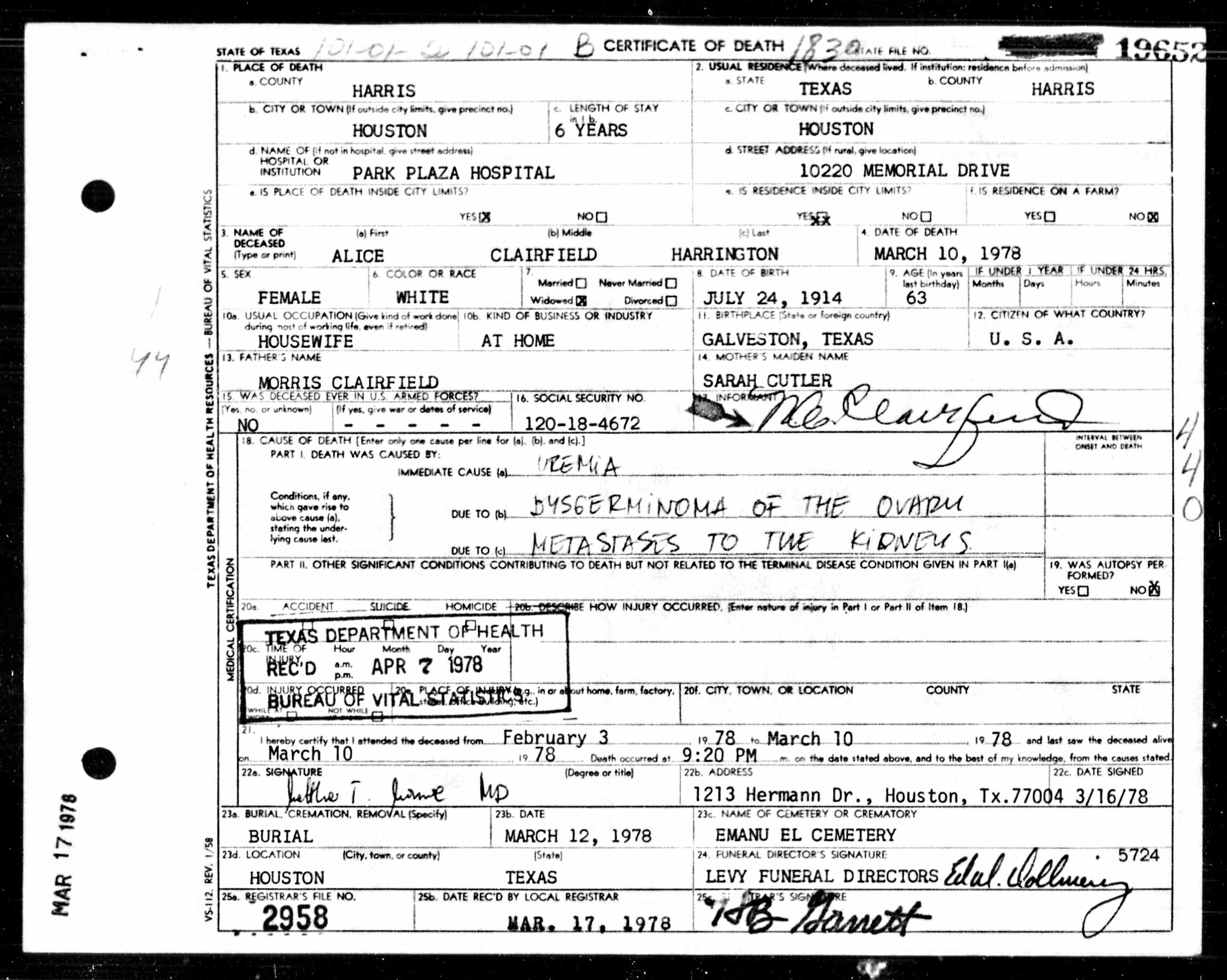 Texas death certificates 19031982 foralice clairfield texas death certificates 19031982 foralice clairfield harrington aiddatafo Image collections