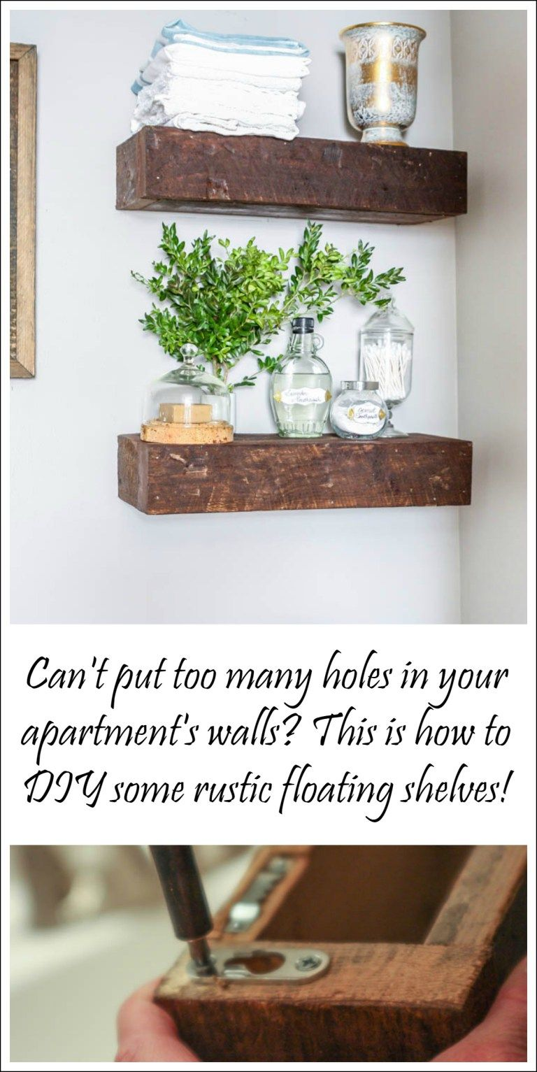 DIY Floating Shelves with Picture Hangers Rustic