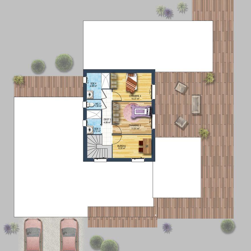 Maison individuelle cubique grands volumes avec enduit bi-colore