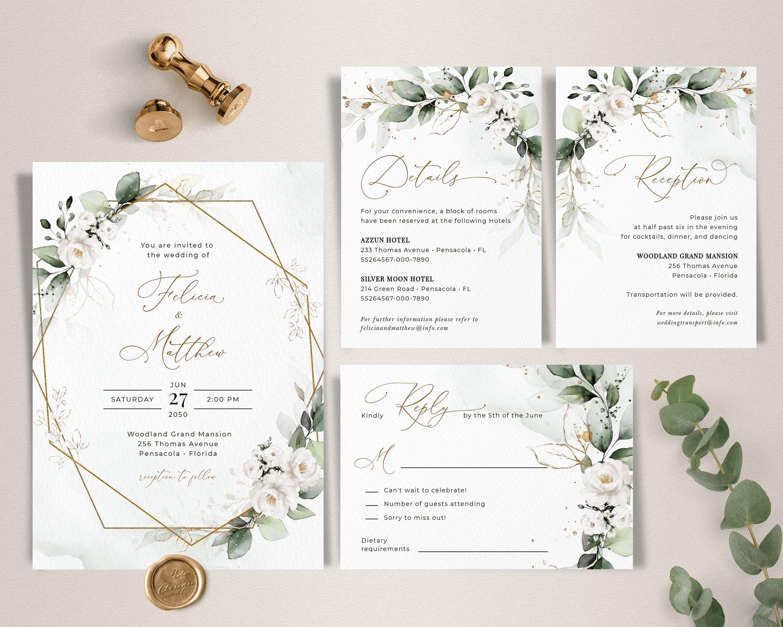 Greenery Wedding Invitation Template Set Wedding Invite With Greenery In 2020 Wedding Invitation Templates Greenery Wedding Invitations Wedding Invitation Background