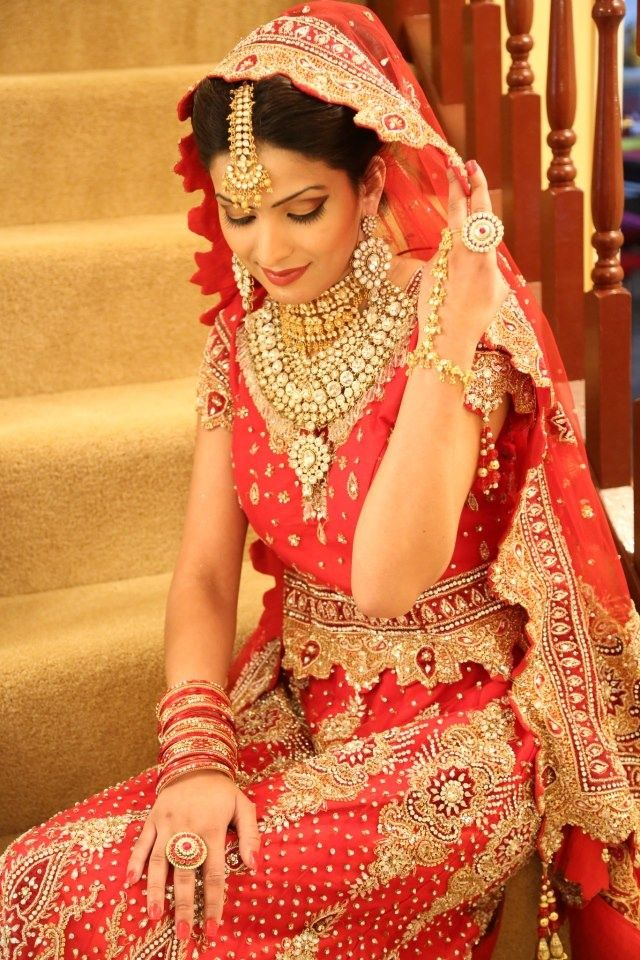 Traditional Indian Bride Wearing Bridal Lehenga And