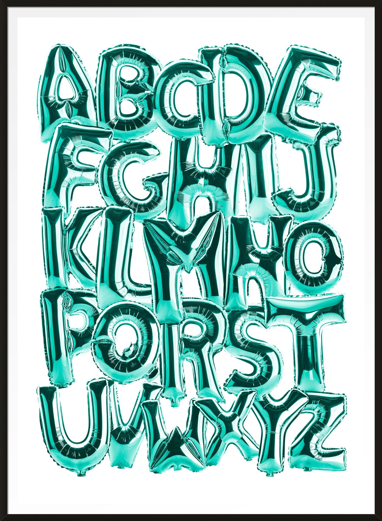 Foil Balloons Alphabet Educational Teal Print How to