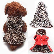 Leopard Pet Dogs Clothes Tutu Dress Puppy Cat Cotton Warm Hoodie Coat Jacket