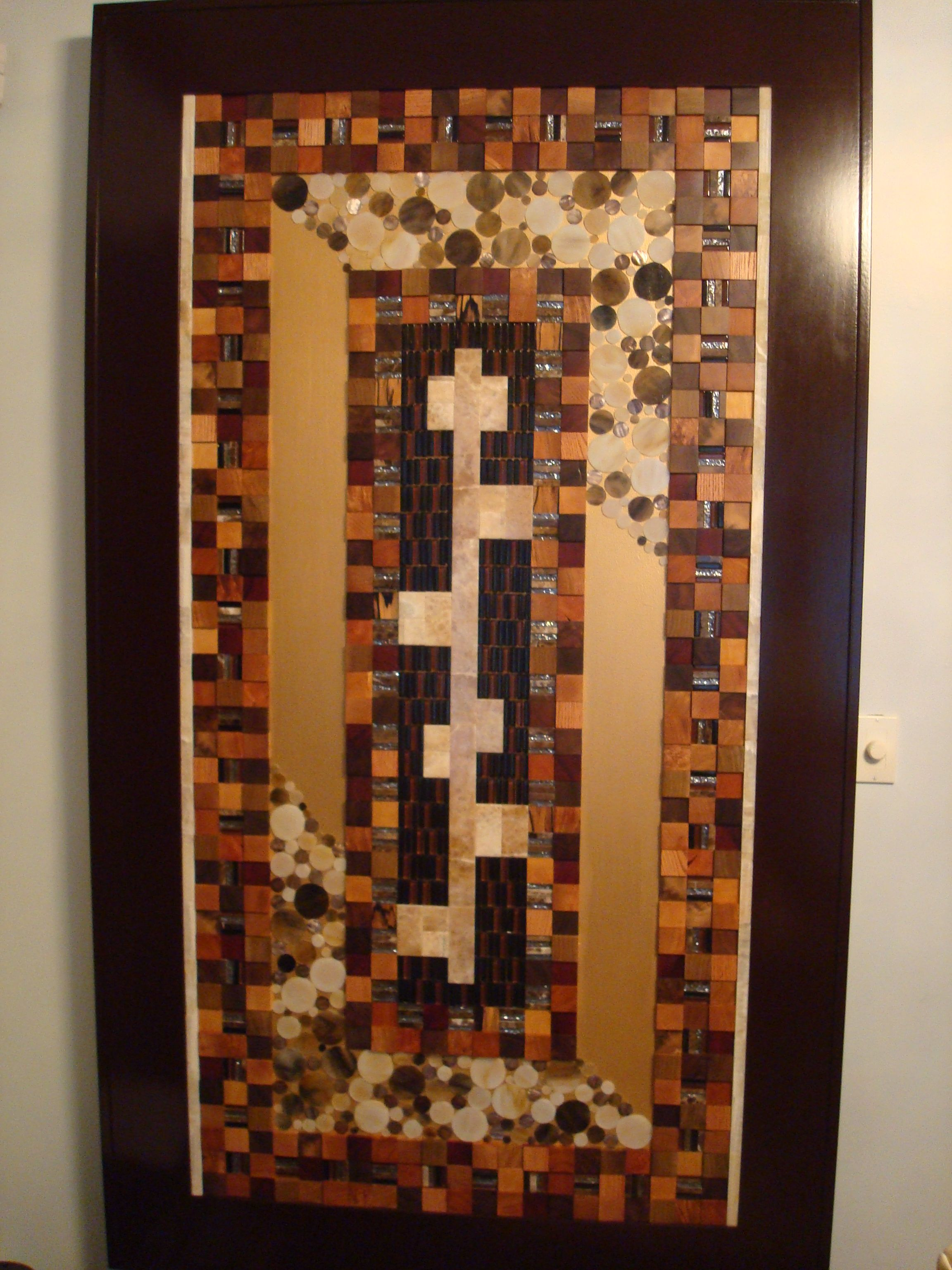 Formal Dining Wall Art in Lincolnwood, IL. Mix exotic wood blocks, mix onyx and glass discs, mix onyx and glass blocks with gold leafed background.